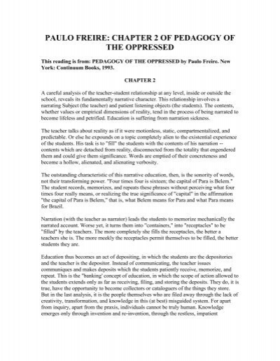 freire pedagogy of the oppressed summary