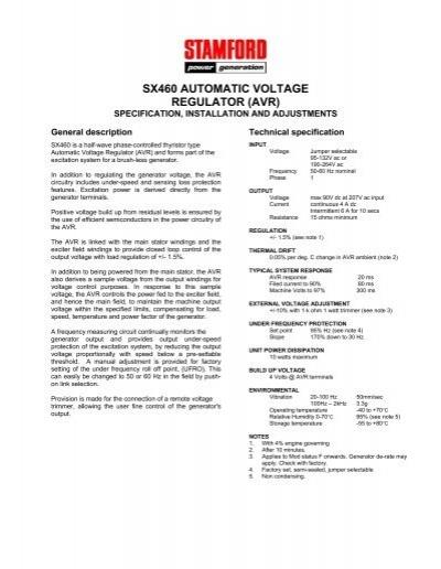 [ZHKZ_3066]  sx460 automatic voltage regulator (avr) - Power Drive Systems ... | Sx460 Avr Wiring Diagram |  | Yumpu