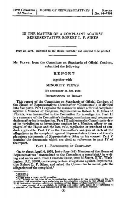 report - House Committee on Ethics - U S  House of