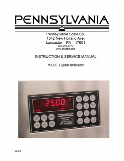 full service manual pennsylvania scale company rh yumpu com pa700 manual pa 7600 manual
