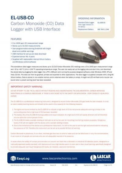 Lascar Electronics EL-USB-CO Carbon Monoxide Datalogger