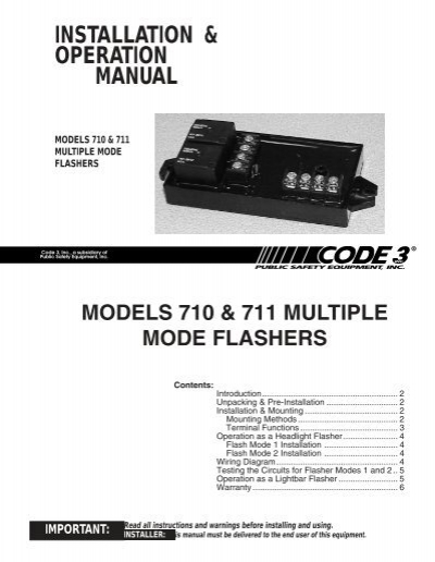 710 and 711 flashers installation guide code 3 public safety rh yumpu com