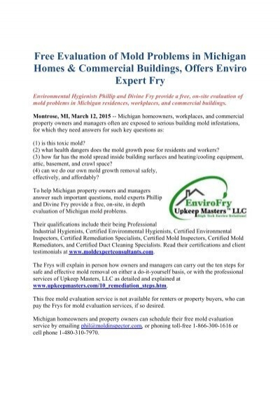 free evaluation of mold problems in michigan homes & commercial ...