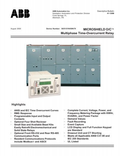 MICROSHIELD O/Cä Multiphase Time-Overcurrent Relay - Abb on
