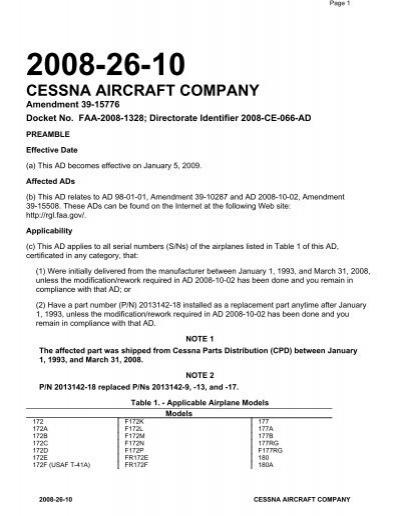 2008-26-10 cessna aircraft company