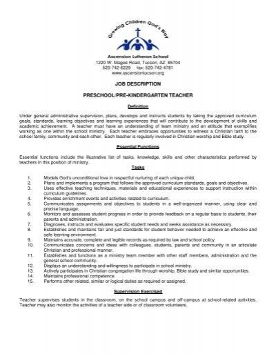 preschool teacher job description description preschool pre kindergarten the 830