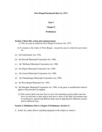 West Bengal Panchayati Raj Act, 1973  Part I Chapter I