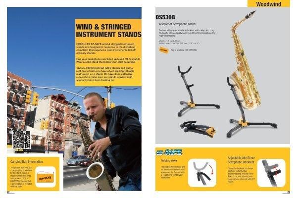 Alto and Tenor Saxophone Adjustable Folding Stand New Hercules DS536B Baritone