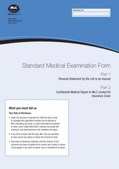 Standard Medical Examination Form Mlc