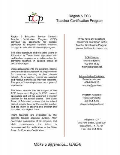 TCP Certifications Offered - Region 5 Education Service Center
