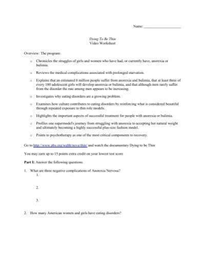 Worksheets Dying To Be Thin Worksheet nova dying to be thin worksheet intrepidpath overview