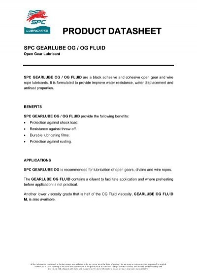 Open Gear and Wire Rope Lubricants - SPC