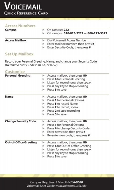 Voicemail quick reference card m4hsunfo