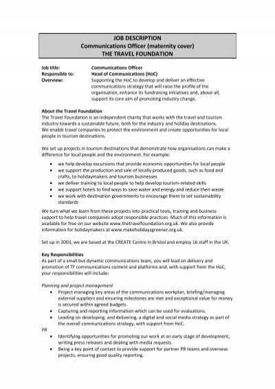 Job Description Communications Officer The Travel Foundation