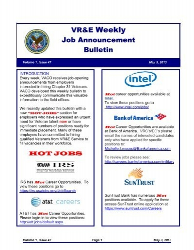 VR&E Weekly Job Announcement Bulletin - National Veterans