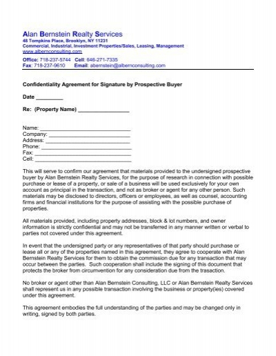 Confidentiality Agreement Alan H Bernstein Consulting