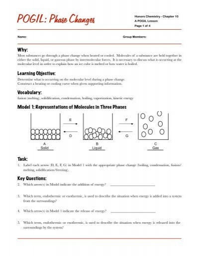 Printables Phase Change Worksheet phase change worksheet doc intrepidpath changes pogil worksheets