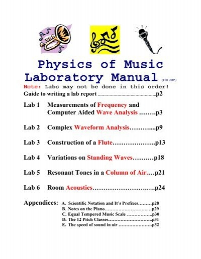 Physics of Music Laboratory Manual (fall 1999) - Astro Pas Rochester