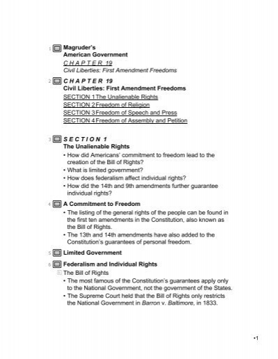 Magruder S American Government CHAPTER 19 Civil Liberties