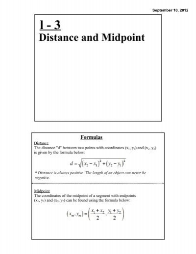 Section 13 Midpoint And Distance Formulas