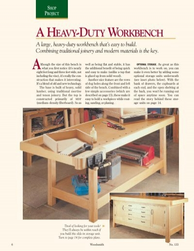 Fine A Heavy Duty Workbench Woodsmith Woodworking Seminars Cjindustries Chair Design For Home Cjindustriesco