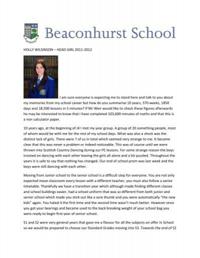 head girl speech Head girl presentation naomi kennard why i want to be head girl want to give back to the school the school would benefit from my ideas and creativity i will have good .