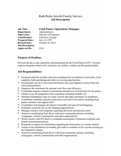 Job Description Food Pantry Operations Manager 2 – Operations Director Job Description