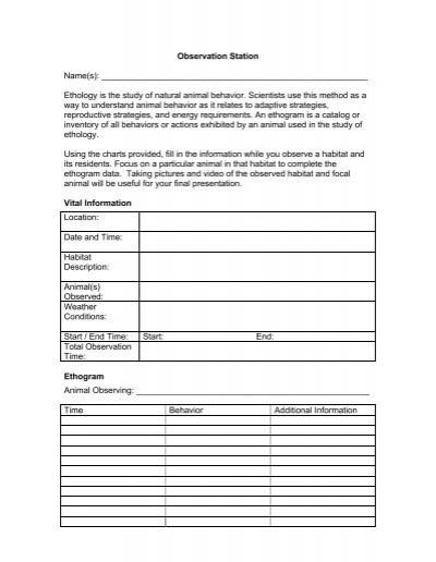 science minutes activity 1 2 9 ethogram worksheet 47k pdf. Black Bedroom Furniture Sets. Home Design Ideas