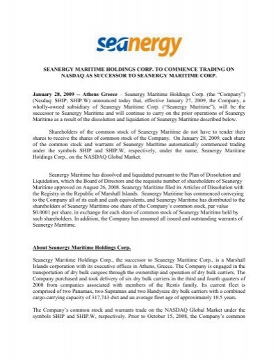 Seanergy Maritime Holdings Corp To Commence Trading On