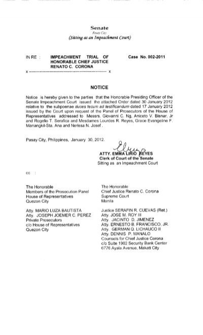 Request for Issuance of Subpoena