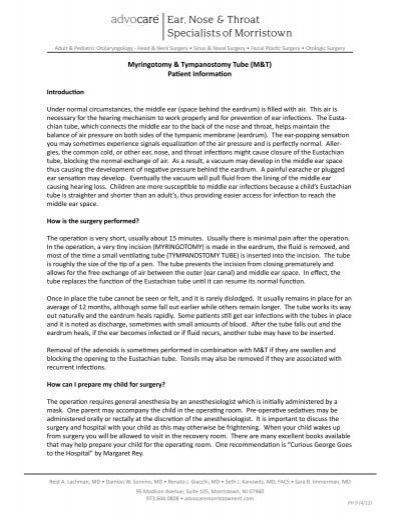 Myringotomy & Tympanostomy Tube (M&T) Patient     - Advocare