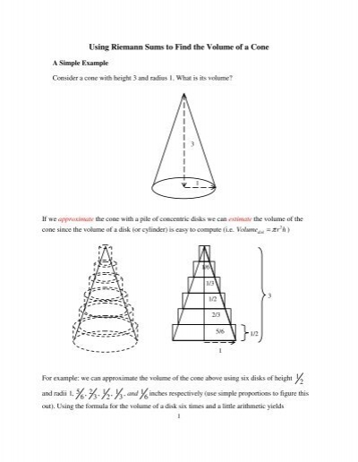 Using Riemann Sums To Find The Volume Of A Cone