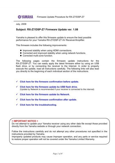 Subject Rx Z7 Dsp Z7 Firmware Update Ver 1 08