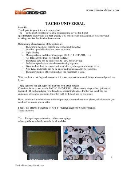 Pdf tacho 2008 manual