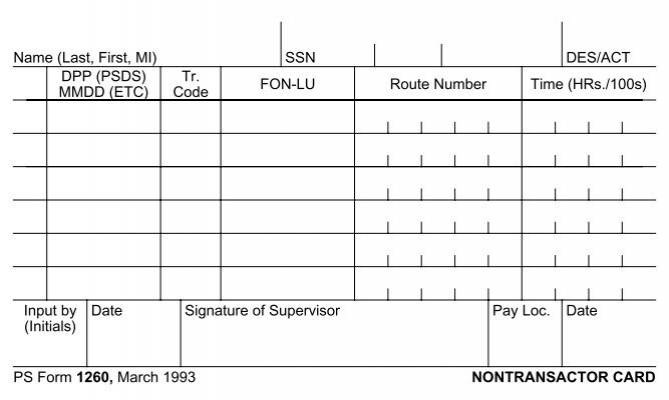 ps form 1260  nontransactor card