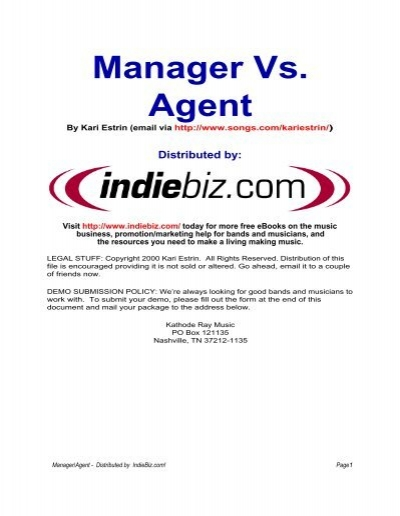 Managers vs Agents pdf - Music Contracts