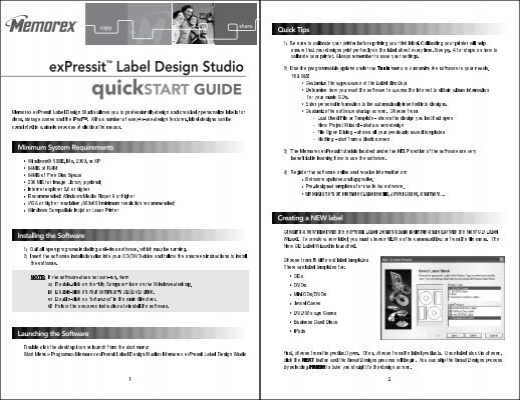 Expressita Label Design Studio Quickstart Guide Memorex