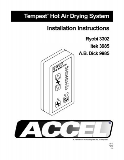tempest hot air drying system installation instructions