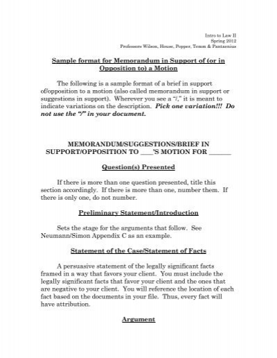 Sample format for memorandum in support of umkc school of law altavistaventures Gallery