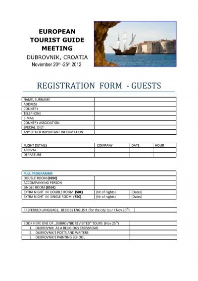 Registration form guests world federation of tourist guide.