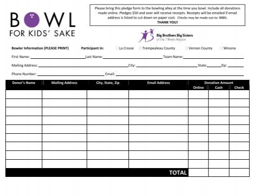 Bowl For Kids Sake  Pledge Form  Foundation For Youth
