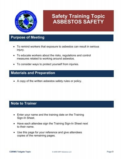 safety training topic asbestos safety risk control online