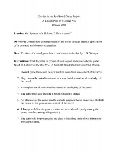 Catcher in the rye lesson plan