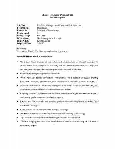 CTPF Job Description Job Title Insurance Mgmt Accountant – Accountant Job Description