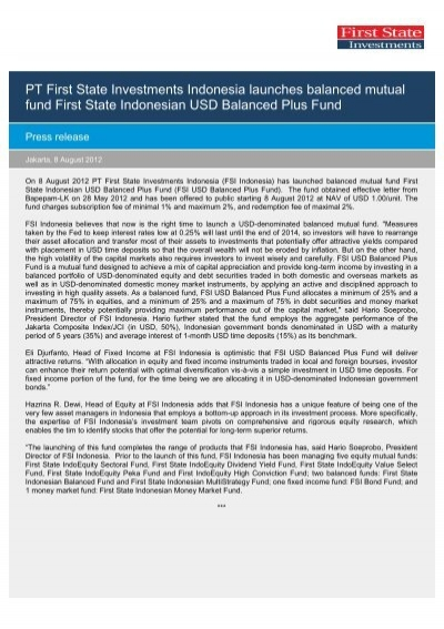 Pt first state investments indonesia news