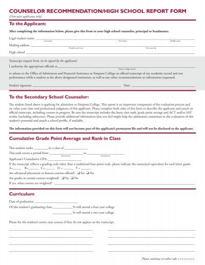 counselor recommendation/high school report form - Simpson College