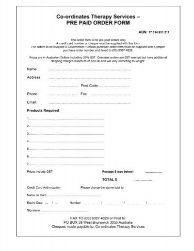 PRE PAID ORDER FORM - Therapy Book Shop Therapy Order Form on foster care forms, optometry forms, psychologist forms, spa forms, yoga forms, medication forms, surgical forms, chiropractic forms, case management forms, therapist forms, coaching forms, housing forms, check up forms, icon forms, wellness forms, monster forms, maintenance forms, physician forms,