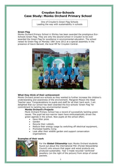 Monks Orchard ecoschool - case study - Croydon Council
