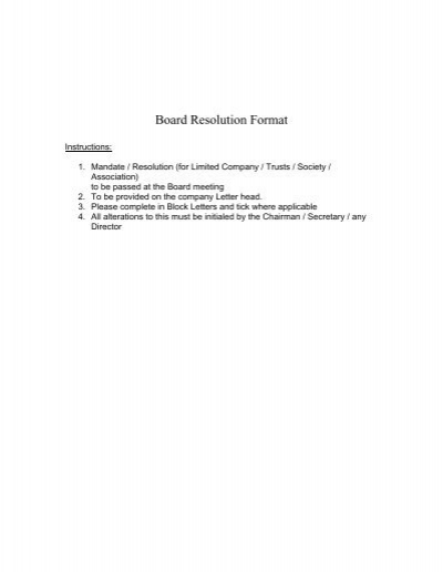 Board Of Resolution Format from www.yumpu.com
