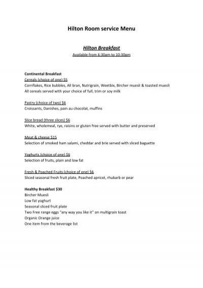 hilton room service menu hilton queenstown
